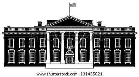 White House Washington DC Black Silhouette Vector Illustration - stock vector