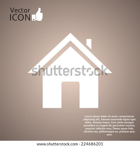 White icon of house against. Made in vector - stock vector