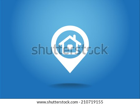 White icon on a blue background - stock vector