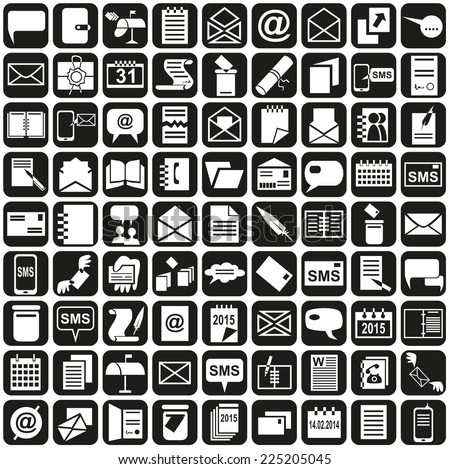 white icons on a black background on the topic of messages, calendars and notebooks - stock vector