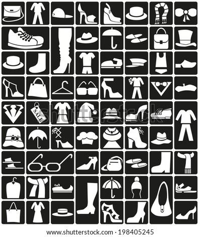 white icons on black background theme: clothes, accessories, shoes. - stock vector