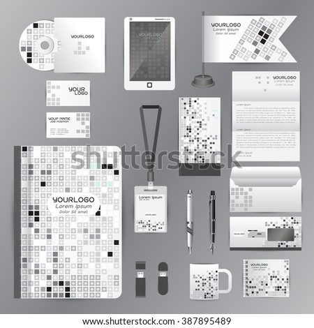 White identity template with gray origami elements. Vector company style for brandbook guideline and Pens mugs CDs books business cards letterhead flag Card Portfolio employees Tablet  - stock vector