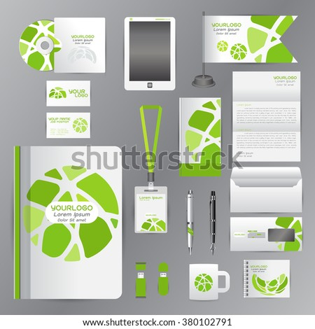 White identity template with green Circle origami elementsVector company style for brandbook guideline and Pens mugs CDs books business cards letterhead flag Card - stock vector