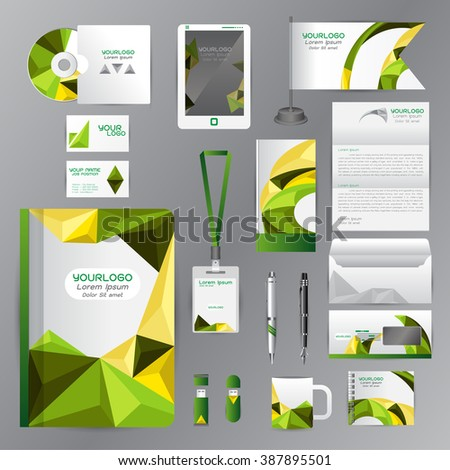 White identity template with green origami elements. Vector company style for brandbook guideline and Pens mugs CDs books business cards letterhead flag Card Portfolio employees Tablet
