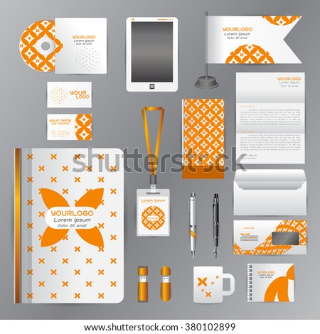 White identity template with Orange origami elements. Vector company style for brandbook guideline and Pens mugs CDs books business cards letterhead flag Card Portfolio employees Tablet flash drive - stock vector