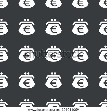 White image of purse with euro symbol repeated on black background - stock vector