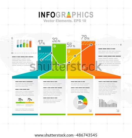 White infographics set with blue, green and orange elements. Vector information graphics