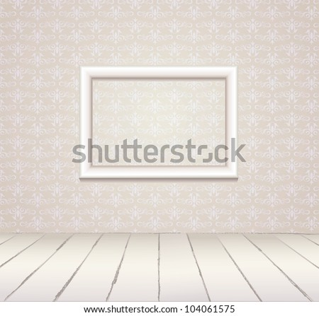 White Interior of vintage room  from gray grunge wallpaper wall, white picture frame and old wooden floor. Vector illustration EPS 8