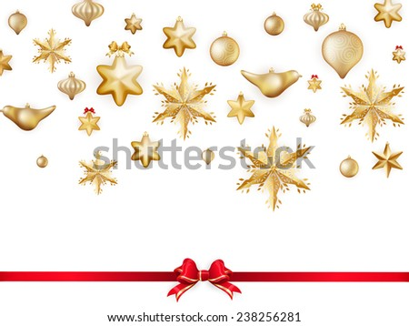 White isolated card with Christmas balls and red bow. EPS 10 vector file included