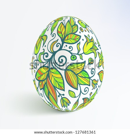 White isolated ornate vector realistic egg with shadow