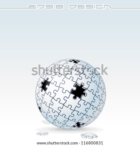White Jigsaw Puzzle Globe with Missing Pieces. 3D Conceptual Art. Vector Illustration - stock vector