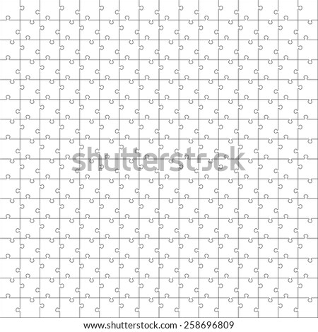 White Jigsaw  puzzle. Seamless puzzle texture. Puzzle template. Cutting guidelines. Every piece is a single shape. Eps 8 - stock vector