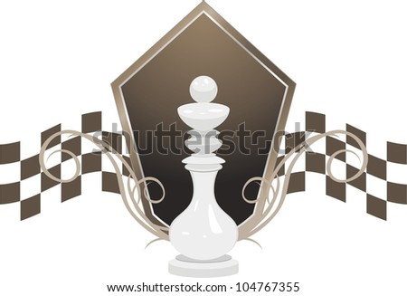 White king and shield. Chess icon. Vector - stock vector