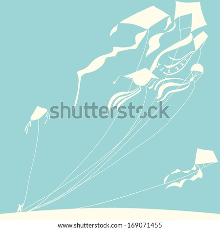 White kites with person on blue background. Vector illustration.
