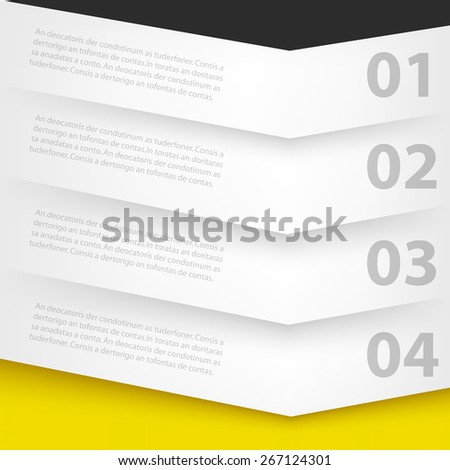 White label paper infographic background angle conner step on yellow and black color for text and message design - stock vector