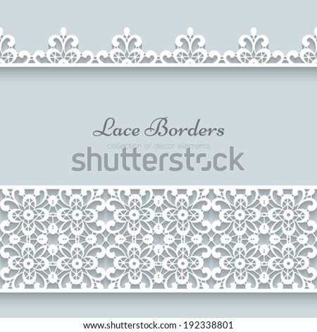 White lace borders with shadow, ornamental paper lines, vector eps10 - stock vector