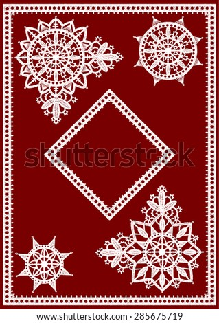 White Lace. Clip Art. Corner and Frame. Red Background. - stock vector