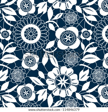 White lace crochet flowers seamless pattern, vector - stock vector