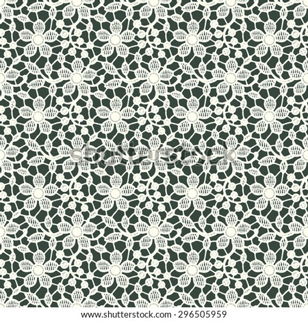 White Lace. Seamless Floral Pattern. Dark Green Background. - stock vector