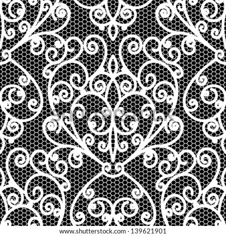 White lace seamless pattern, vintage vector floral texture on black - stock vector
