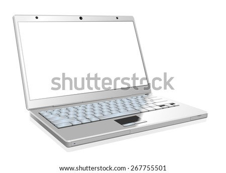 White laptop with the blank screen isolated on white background. - stock vector