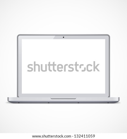White laptop with white screen. Vector illustration - stock vector