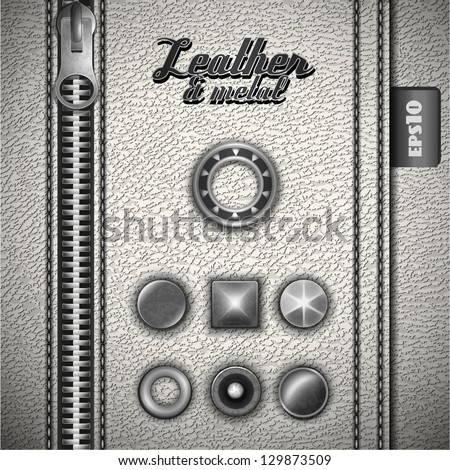 White leather background with metal design elements - eps10 - stock vector