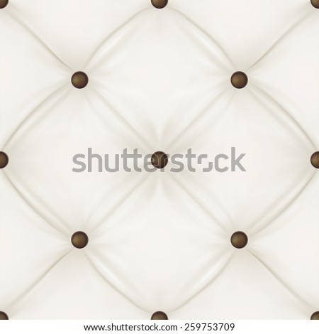 White leather upholstery background for a luxury decoration. Seamless pattern. Vector illustration. - stock vector