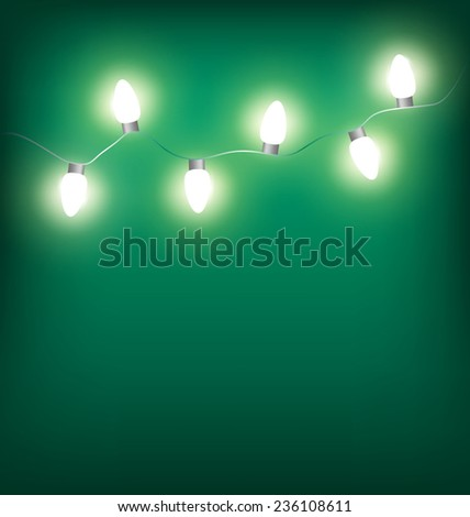 White led Christmas lights garland on cyan background - stock vector