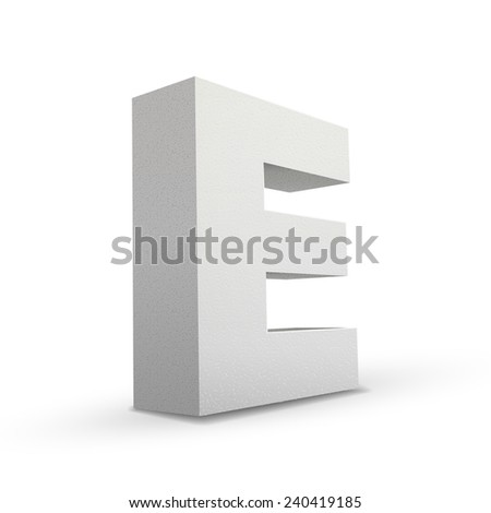 white letter E isolated on white background