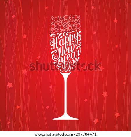 white lettering happy new year in the form of a glass of champagne on  red background - stock vector