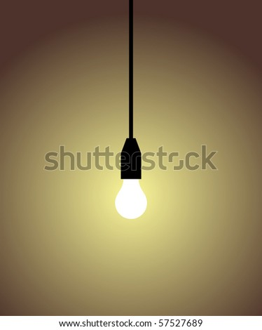 white light bulb on brown background. Concepts of light, idea, brilliant, intelligence. - stock vector