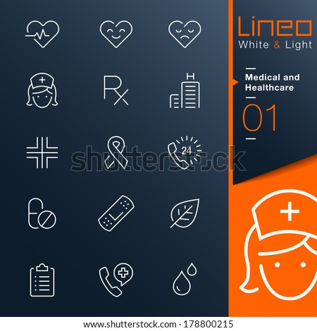 White & Light - Medical and Healthcare outline icons - stock vector