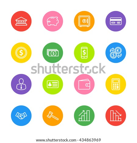 white line business commercial and finance icon set on colorful circle for web design, user interface (UI), infographic and mobile application (apps)
