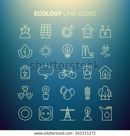 White line ecology icons. Vector set - stock vector