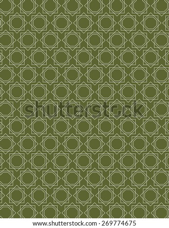 White line pattern over green color background - stock vector