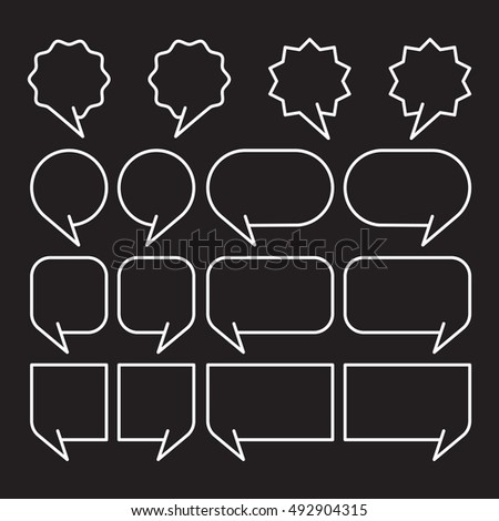 white line speech bubbles set vector illustration