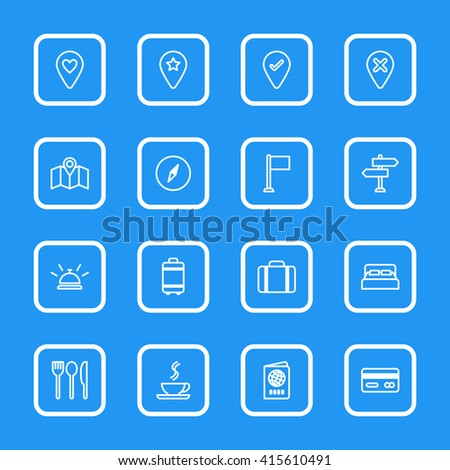 white line travel icon set with rounded rectangle frame for web design, user interface (UI), infographic and mobile application (apps)