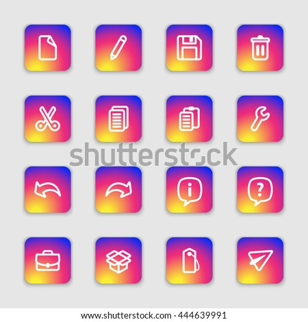 white line web icon set on colorful smooth gradient rounded rectangle with soft shadow for web design, user interface (UI), infographic and mobile application (apps)