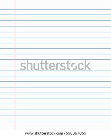 White Lined Paper Sheet Margin On Stock Vector 658367065