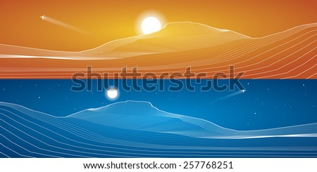 White lines, sand dunes, mountains, desert, abstraction composition, panorama,vector design background, day and night - stock vector
