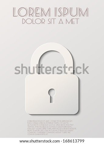 White lock icon - stock vector