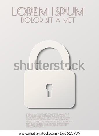 White lock icon - stock vector