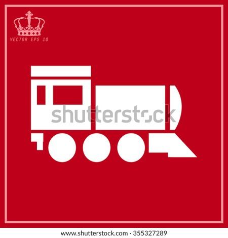 White Locomotive icon . Vector illustration. - stock vector