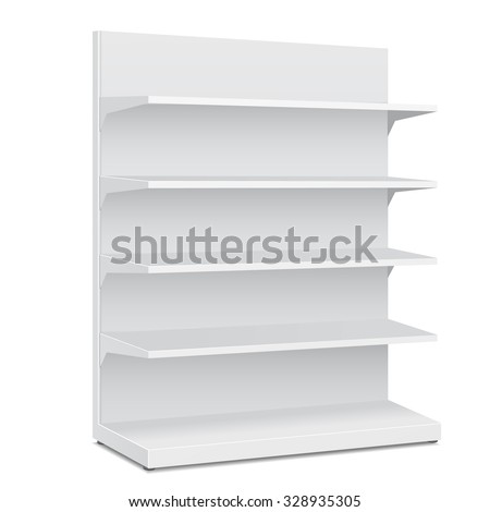 White Long Blank Empty Showcase Displays With Retail Shelves. 3D Products On White Background Isolated. Ready For Your Design. Product Packing. Vector EPS10 - stock vector