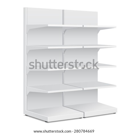 White Long Blank Empty Showcase Displays With Retail Shelves Products On White Background Isolated. Ready For Your Design. Product Packing. Vector EPS10 - stock vector
