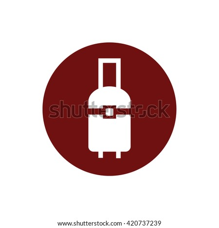 White luggage icon vector illustration. Red circle. Red button - stock vector