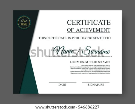 White luxury certificate template award badge stock vector 546686227 white luxury certificate template with award badge trendy modern document blank vector eps10 yelopaper Image collections