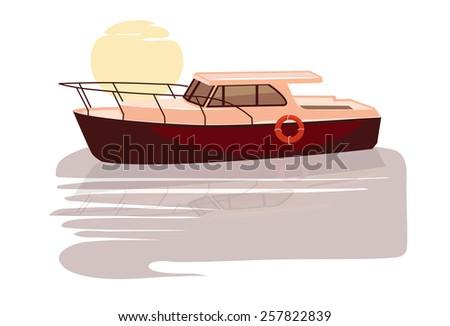 White luxury yacht - stock vector