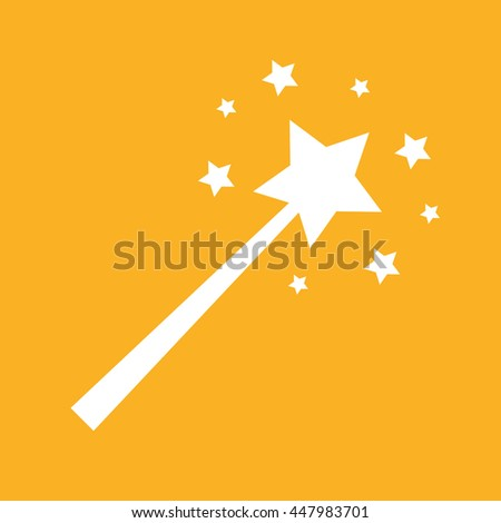 White magic wand vector illustration. Yellow background